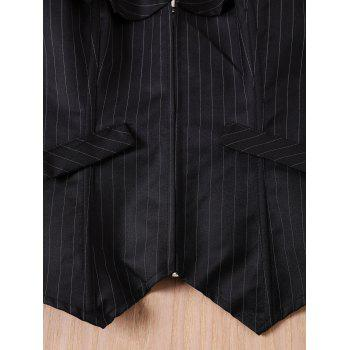Sexy Back Lace-Up Striped Zippered Corset For Women - M M