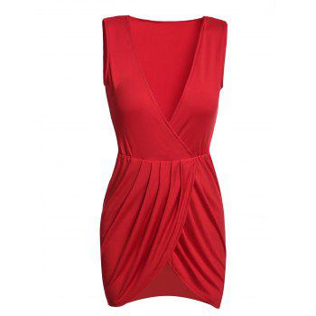 Sexy Women's Plunging Neck Sleeveless Solid Color Mini Dress RED