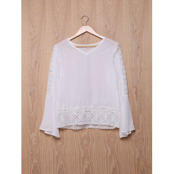 Stylish V-Neck Bell Sleeve Hollow Out Lace Women's Blouse