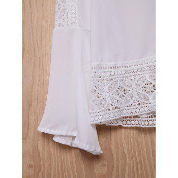 Stylish V-Neck Bell Sleeve Hollow Out Lace Women's Blouse - WHITE S