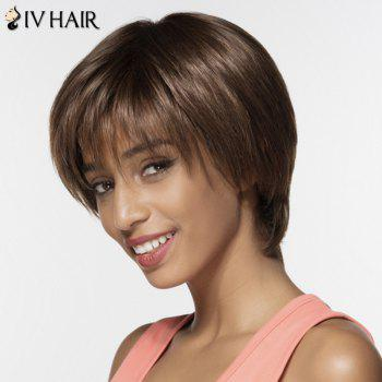 Women's Fashion Straight Human Hair Neat Bang Wig -  JET BLACK