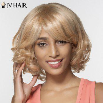 Stylish Human Hair Women's Curly Oblique Bang Wig