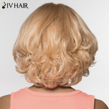 Stylish Human Hair Women's Curly Oblique Bang Wig - BLONDE