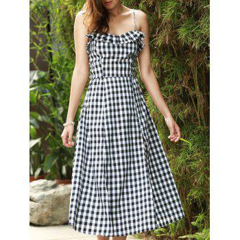 Sexy Women's Strappy Gingham Ruffle Midi Dress