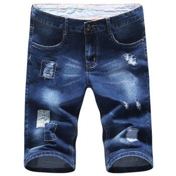 Zipper Fly Plus Size Holes Design Bleach Wash Straight Leg Men's Denim Shorts