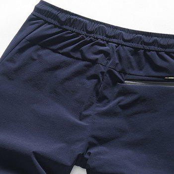 Letters and Figure Printed Plus Size Lace-Up Straight Leg Men's Shorts - BLUE 29