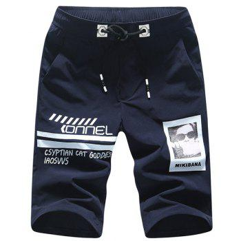 Letters and Figure Printed Plus Size Lace-Up Straight Leg Men's Shorts