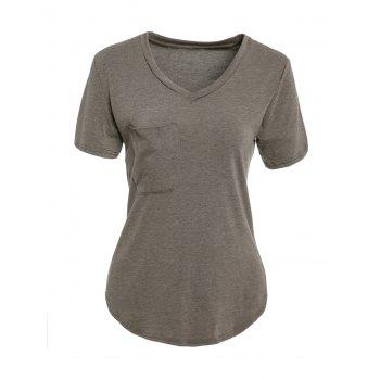Trendy V Neck Candy Color Short Sleeve T-Shirt For Women
