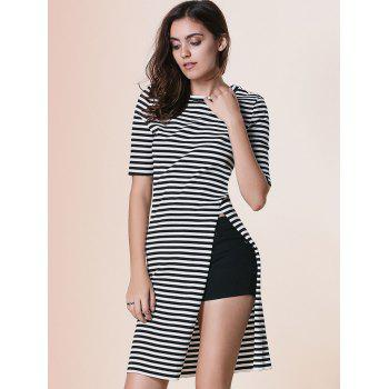 Trendy Round Neck Short Sleeve Striped Furcal Dress For Women