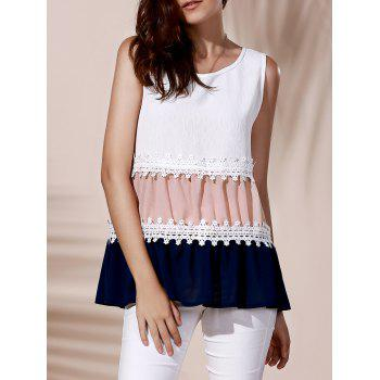 Fashionable Round Collar Color Block Lace Spliced Women's Tank Top