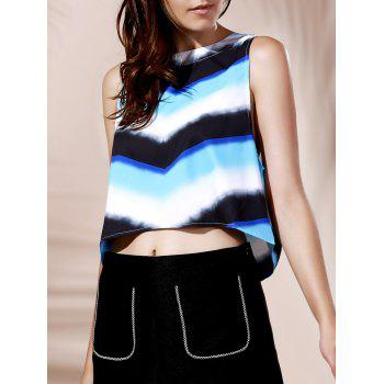 Chic Round Collar Zig Zag Zipper Design Women's Tank Top