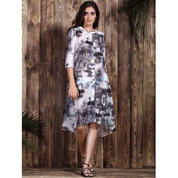 Trendy Ethnic Print 1/2 Sleeve Loose Dress For Women - COLORMIX S