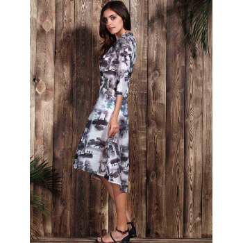 Trendy Ethnic Print 1/2 Sleeve Loose Dress For Women - COLORMIX M