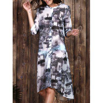 Trendy Ethnic Print 1/2 Sleeve Loose Dress For Women