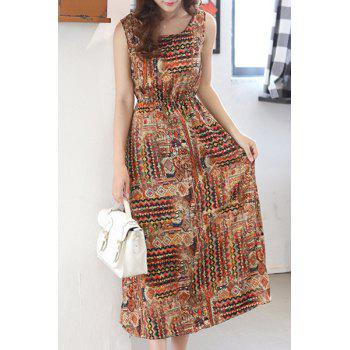 Bohemian Elastic Waist Tribal Print Sleeveless Women's Dress - L L