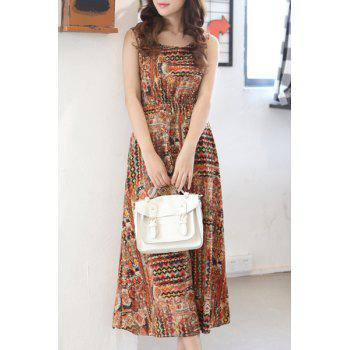 Bohemian Elastic Waist Tribal Print Sleeveless Women's Dress