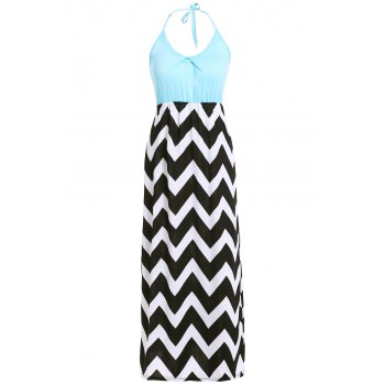 Bohemian Style Women's Halter Neck Zig Zag Print Dress - BLUE M