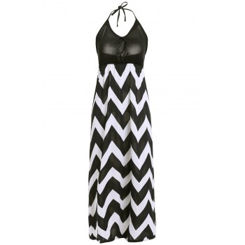 Bohemian Style Women's Halter Neck Zig Zag Print Dress - BLACK BLACK