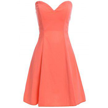 Stylish Women's Strapless Solid Color Hollow Out Club Dress