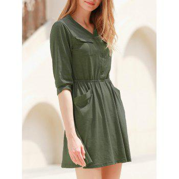 Elegant Solid Color V-Neck 3/4 Sleeve High Waist Dress For Women