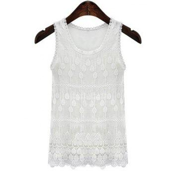 Buy Simple Style Plus Size Jewel Neck Lace Splicing Pure Color Tank Top Women WHITE