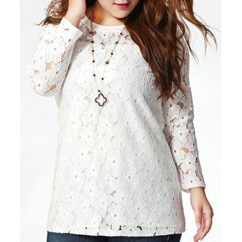 Fashionable Plus Size Jewel Neck Full Sleeve Lace Splicing T-Shirt For Women - WHITE XL