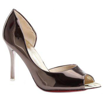 Stylish Stiletto Heel and Patent Leather Design Women's Peep Toe Shoes