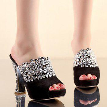 Fashionable Peep Toe and Rhinestones Design Women's Slippers - 39 39