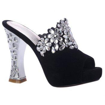Fashionable Peep Toe and Rhinestones Design Women's Slippers - BLACK 39