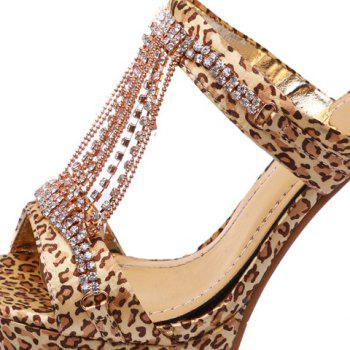 Trendy Rhinestones and Leopard Printed Design Women's Slippers - 39 39