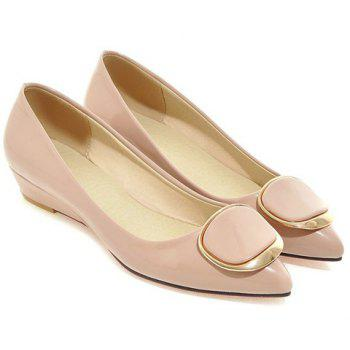 Sweet Metal and Patent Leather Design Women's Wedge Shoes - 38 38