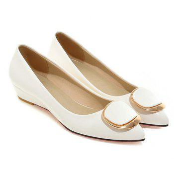 Sweet Metal and Patent Leather Design Women's Wedge Shoes - WHITE WHITE