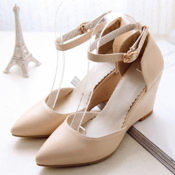 Fashionable Pointed Toe and Solid Colour Design Women's Wedge Shoes - 34 34