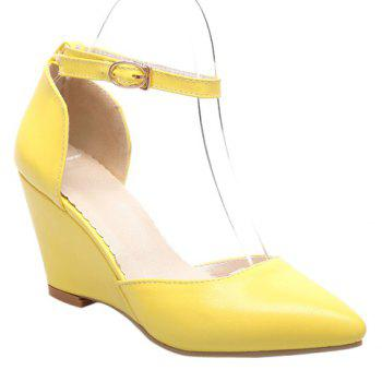 Fashionable Pointed Toe and Solid Colour Design Women's Wedge Shoes - YELLOW YELLOW