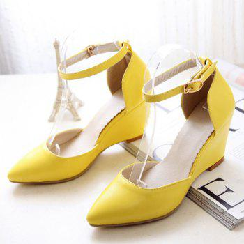 Fashionable Pointed Toe and Solid Colour Design Women's Wedge Shoes - 36 36