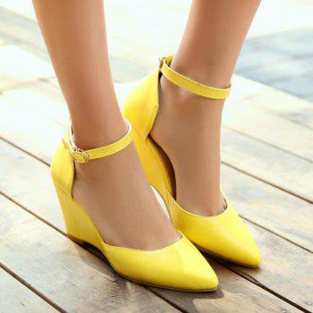 Bout pointu mode et design de couleur solide Femmes  's Shoes Wedge - Jaune 36