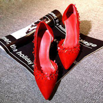 Trendy Flowers and Red Color Design Women's Pumps - RED 34