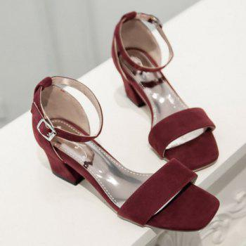 Vintage Square Toe and Suede Design Women's Sandals - WINE RED 39