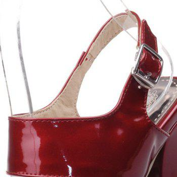 Square Toe Two Strap Sandals - WINE RED 38
