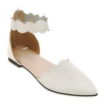 Simple Solid Color and Cut Out Design Women's Flat Shoes - WHITE 39