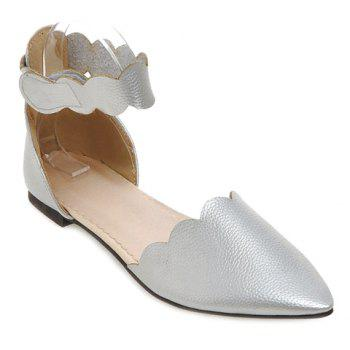 Simple Solid Color and Cut Out Design Women's Flat Shoes - SILVER 36