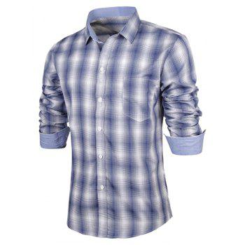 Turn-Down Collar Slimming Long Sleeve Ombre Checked Men's Shirt