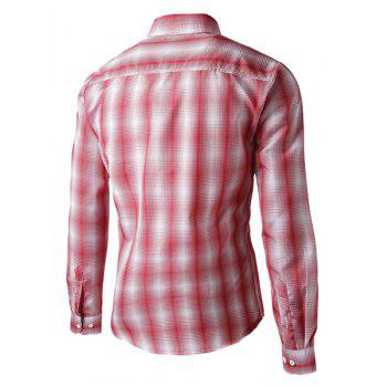 Turn-Down Collar Slimming Long Sleeve Ombre Checked Men's Shirt - RED L