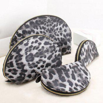 Trendy Leopard Print and Zip Design Women's Clutch Bag - GRAY
