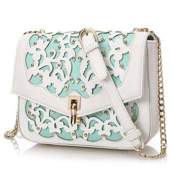 Sweet Hollow Out and Cover Design Women's Shoulder Bag - LIGHT BLUE