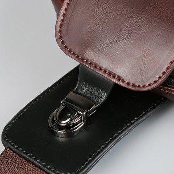 Concise Colour Matching and PU Leather Design Men's Messenger Bag -  COFFEE