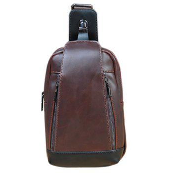 Concise Colour Matching and PU Leather Design Men's Messenger Bag - COFFEE COFFEE