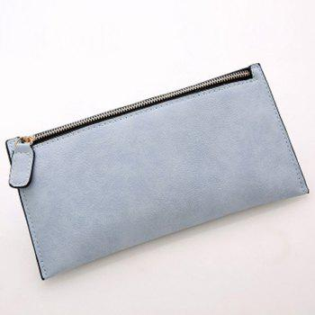Simple Zip and Candy Color Design Women's Wallet -  LIGHT BLUE