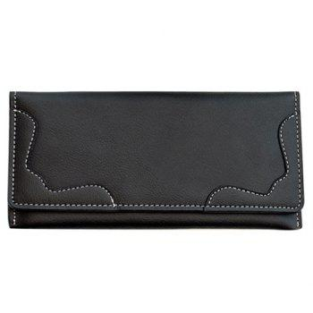 Concise Solid Color and Stitching Design Women's Clutch Wallet - BLACK BLACK