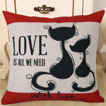 Chic Kitten Lovers Pattern Square Shape Flax Pillowcase (Without Pillow Inner)